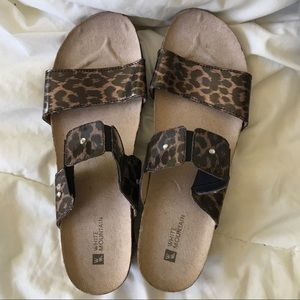 NWOT! White mountain leopard print sandals!
